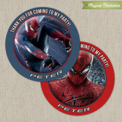 Amazing Spiderman Printable Birthday Favor Tag Labels