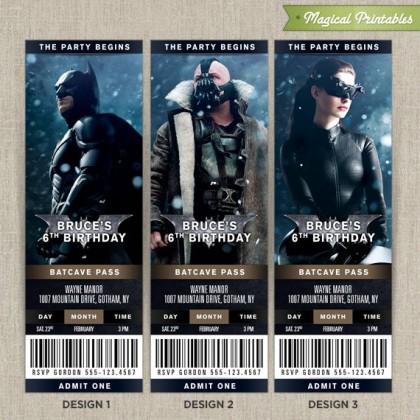 Personalized Batman The Dark Knight Birthday Ticket Invitation Cards