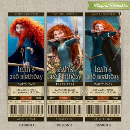 Personalized Pixar BRAVE Birthday Ticket Invitation Card