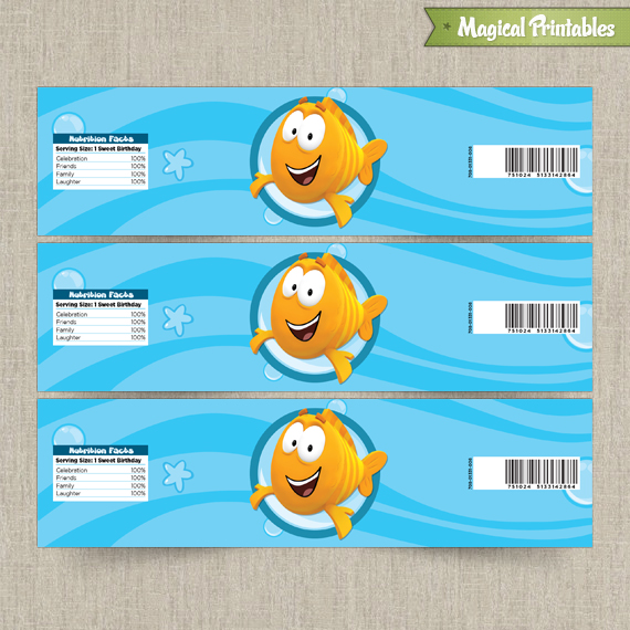 Guppies Printable Birthday Bottle Labels – Free Printable Bubble Guppies Birthday Invitations