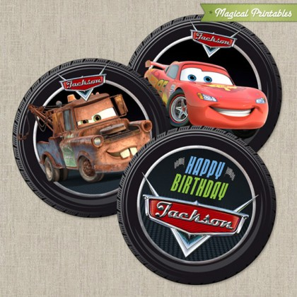 Disney Cars 2 Printable Birthday 2 in. Labels