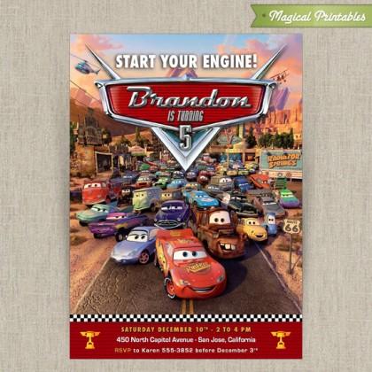 Disney Cars Printable Birthday Invitation
