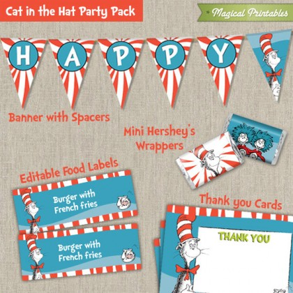 Dr Seuss Cat in the Hat Printable Party Pack - Including Invitation, Labels, Banner, Welcome Sign & More