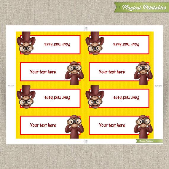 Superb Curious George Editable Birthday Tent Cards Personalised Birthday Cards Veneteletsinfo