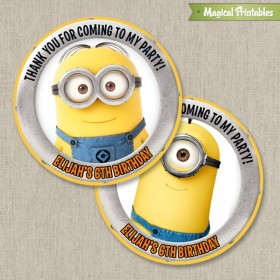Despicable Me Printable Birthday Favor Tag Labels