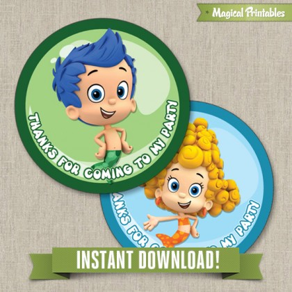 Bubble Guppies Printable Birthday Favor Tag Labels - Instant Download