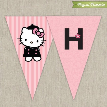 Hello Kitty with French Poodle Paris Printable Birthday Banner - Pink and Black