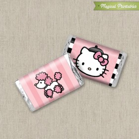 Hello Kitty with French Poodle Paris Printable Mini Hershey's Wrappers