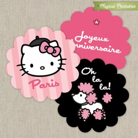 Hello Kitty with French Poodle Paris Printable 2 in. circle labels - Pink and Black