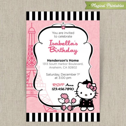 Hello Kitty with French Poodle Paris Customizable Printable Party Invitation - Pink and Black stripes
