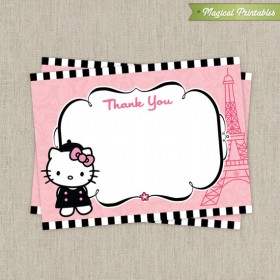 Hello Kitty with French Poodle Paris Printable Birthday Thank You Cards