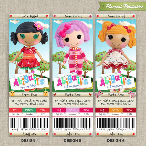 LALALOOPSY Birthday Ticket Invitation Card – Ticket Invitation