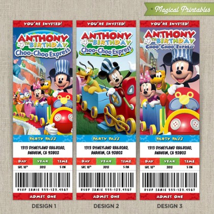 Disney Mickey Mouse Clubhouse Choo Choo Express Birthday Ticket Invitation Card
