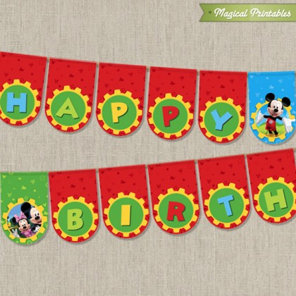 Disney Mickey Mouse Clubhouse Printable Happy Birthday Banner