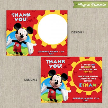 Disney Mickey Mouse Clubhouse Printable Birthday Thank You Cards - Choose from 2 designs