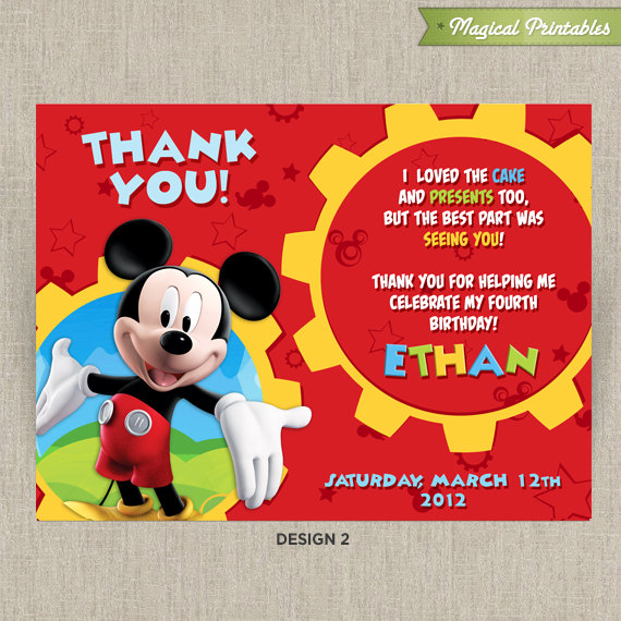 disney mickey mouse clubhouse printable birthday thank you cards