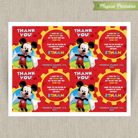 disney mickey mouse clubhouse printable birthday thank you cards choose from 2 designs