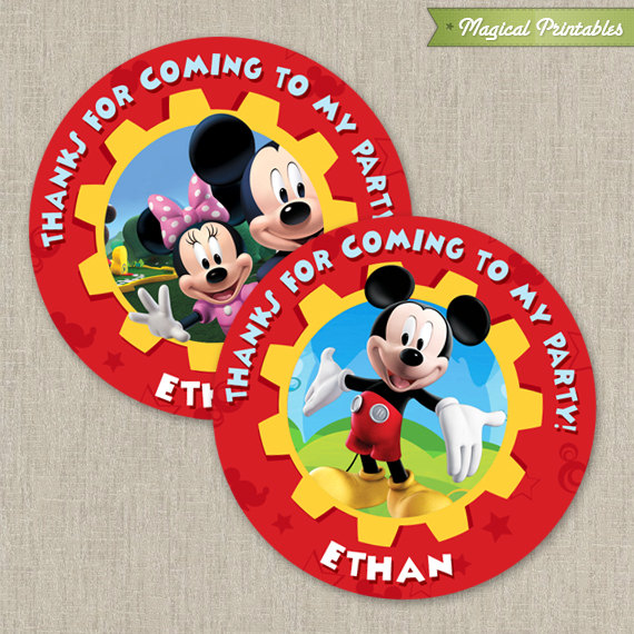 Disney Mickey Mouse Clubhouse Printable Birthday Favor Tag