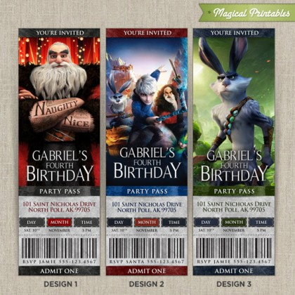 Personalized Rise of the Guardians Birthday Ticket Invitation Card