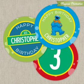 Sesame Street Printable Birthday 2 in. Labels