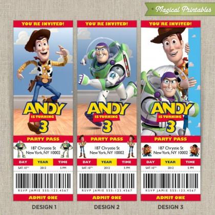 Personalized Pixar TOY STORY Birthday Ticket Invitation Card
