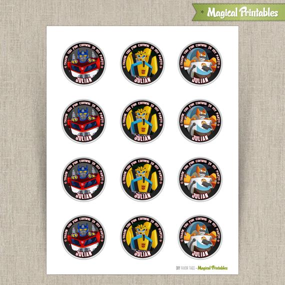 graphic regarding Transformers Printable called Transformers Rescue Bots Printable Birthday Prefer Tag Labels