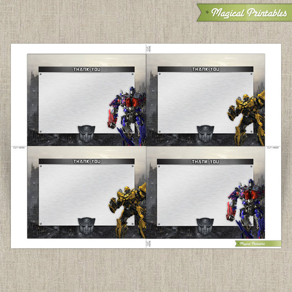 picture relating to Transformer Birthday Invitations Printable Free identified as Transformers Blank Birthday Thank your self Playing cards