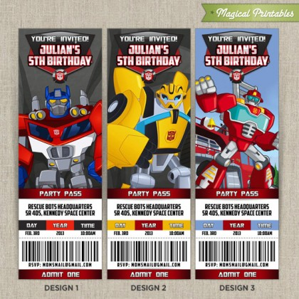 Personalized Transformers Rescue Bots Birthday Ticket Invitation Card