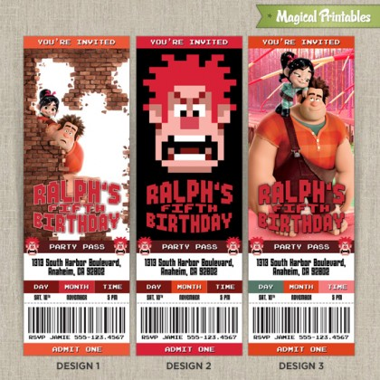 Personalized Disney Wreck It Ralph Birthday Ticket Invitation Card