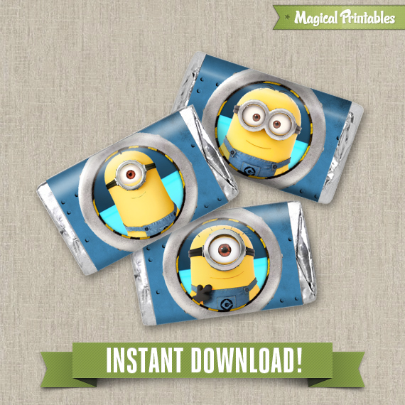 despicable me editable birthday mini hershey s wrappers instant