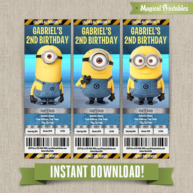 Despicable Me Minions Birthday Ticket Invitations (Lab Set ...