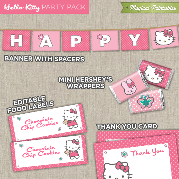 Hello Kitty Printable Party Package – Hello Kitty Printable Birthday Invitations