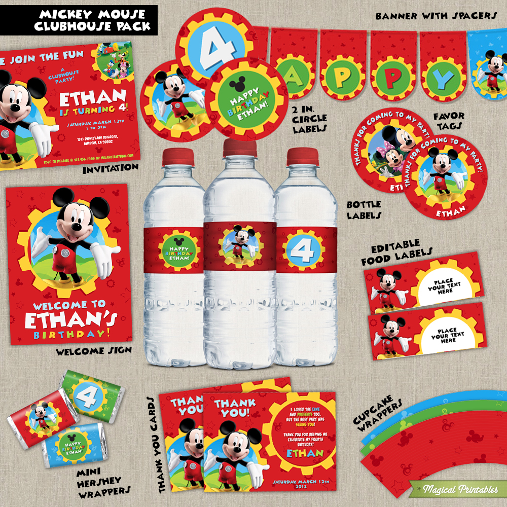 disney mickey mouse clubhouse printable party package. Black Bedroom Furniture Sets. Home Design Ideas