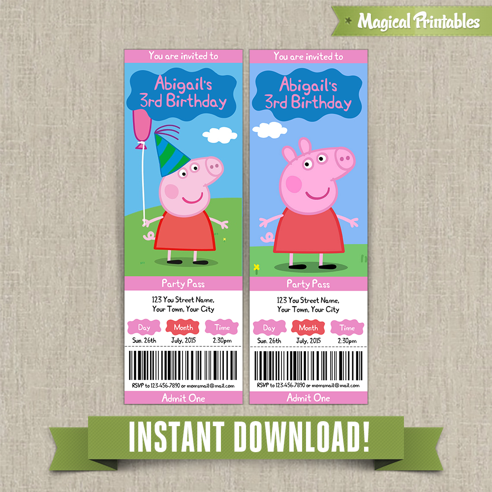 peppa pig birthday ticket invitations instant download edit and