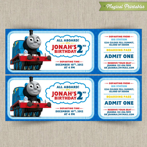 Thomas The Train Customizable Printable Party Invitation