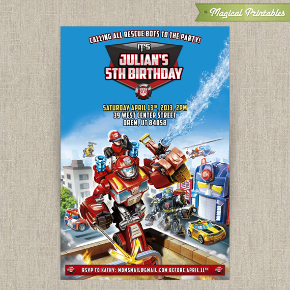 personalized transformers rescue bots birthday invitation card