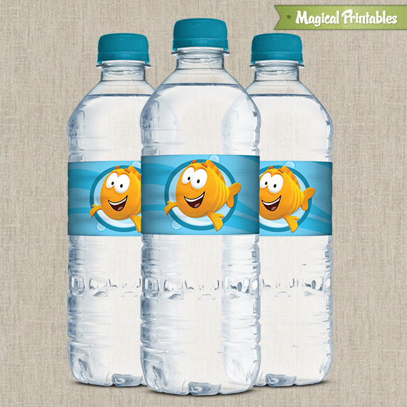 Bubble guppies printable birthday bottle labels for Bubble bottle label template