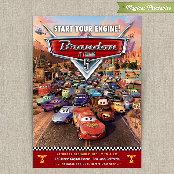 Disney Cars Printable Birthday Invitation – Disney Cars Birthday Invites
