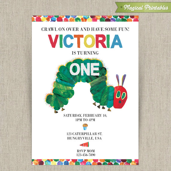 Very Hungry Caterpillar Printable Birthday Invitation