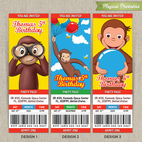 Personalized Curious George Birthday Ticket Invitation Card