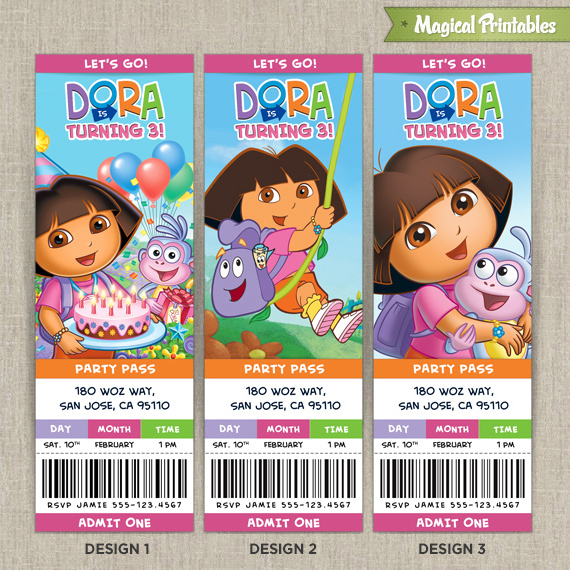 personalized dora the explorer birthday ticket invitation card, Birthday invitations