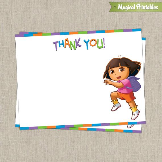 Dora The Explorer Printable Birthday Thank You Cards