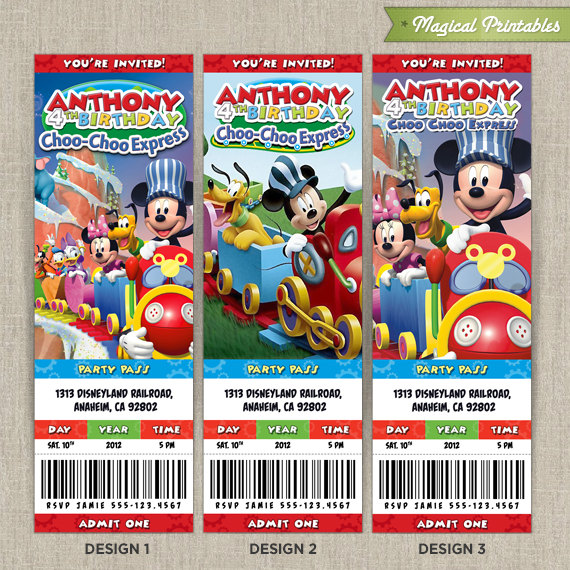 Disney Mickey Mouse Clubhouse Choo Express Birthday Ticket Invitation Card