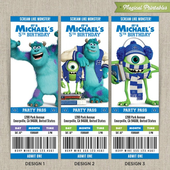 Personalized Disney Monsters University Birthday Ticket Invitation – Personalized Disney Birthday Invitations