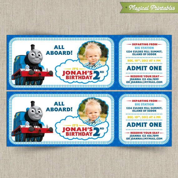 Thomas The Train Customizable Printable Party Invitation With PHOTO - Party invitation template: train party invitations templates